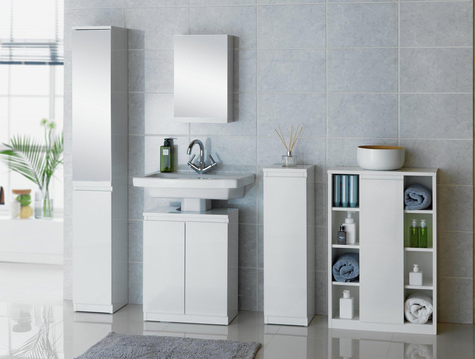 Bathroom Floor Cabinet buy hygena gloss floor cabinet storage - white at argos.co.uk