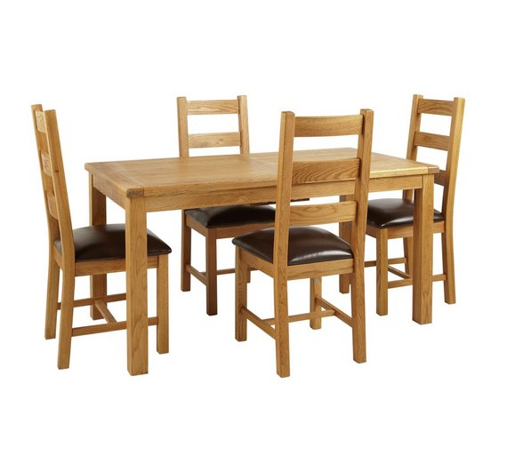 Buy Heart Of House Kent Oak Ext Table And 4 Farmhouse