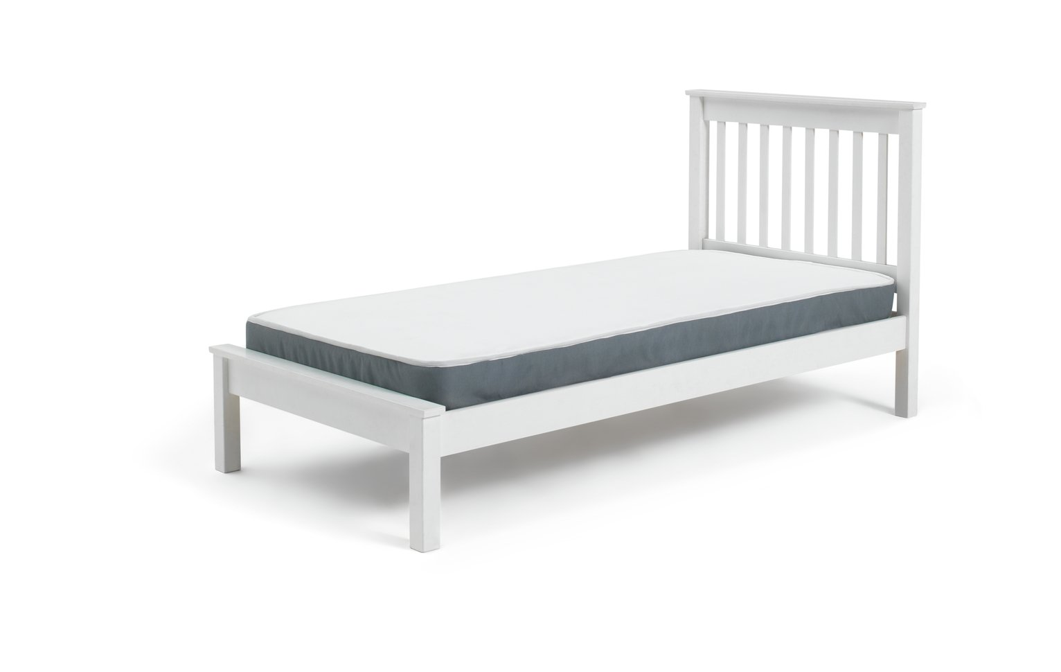 Image of Children's Aspley - Single Bed Frame and Ashley Mattress-White