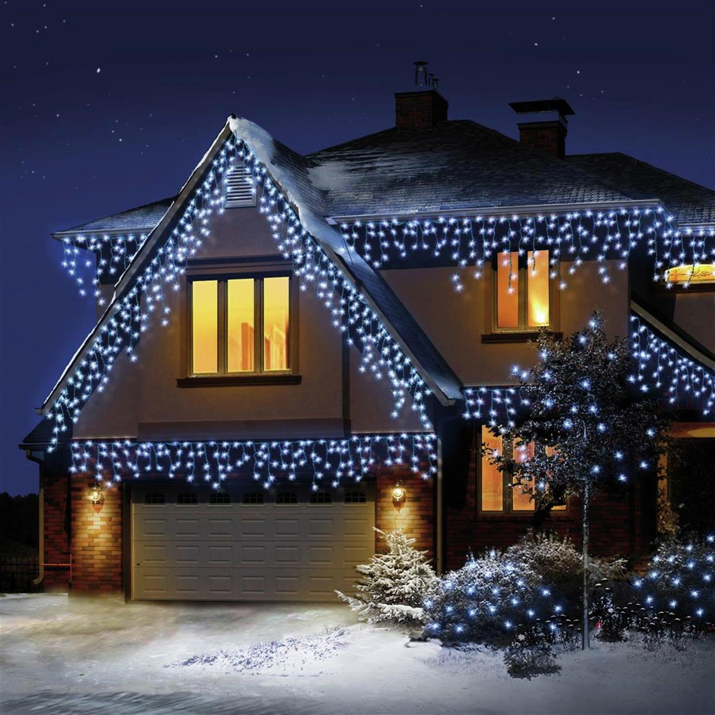 480 Led Snowing Icicle Christmas Lights White 5543397 Argos