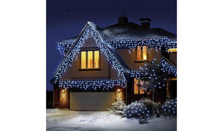 Icicle Christmas Lights.Buy 480 Led Snowing Icicle Christmas Lights White Christmas Lights Argos