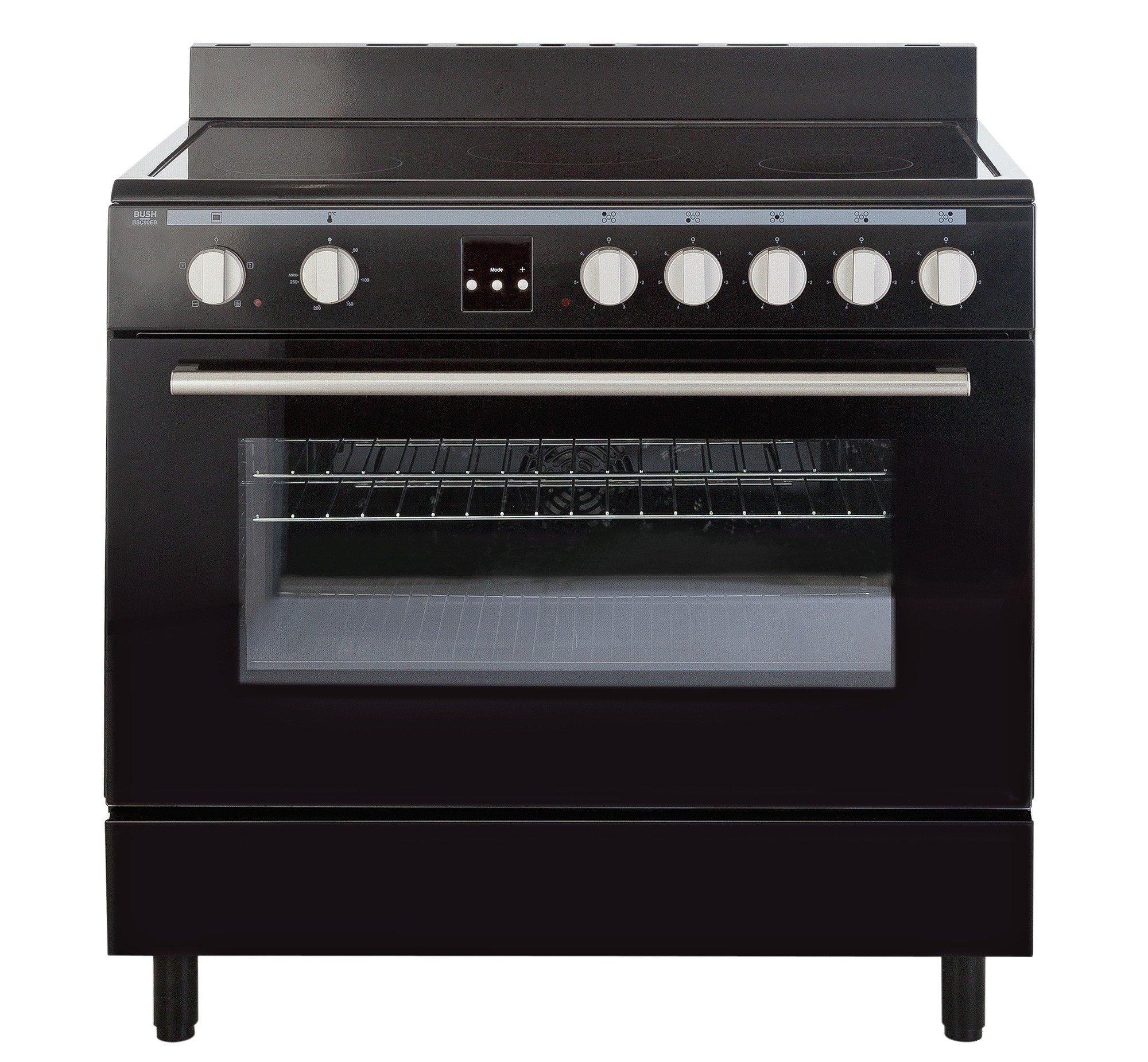 bush bsc90eb electric range cooker black. Black Bedroom Furniture Sets. Home Design Ideas