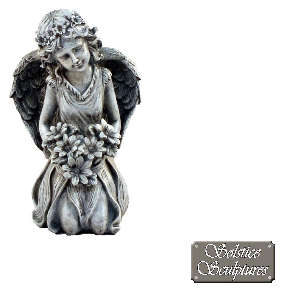 Solstice Sculptures Kneeling Flower Angel Garden Statue. lowest price