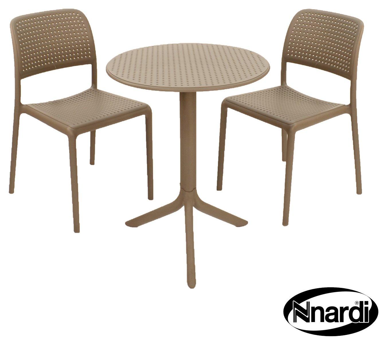Nardi Turtledove Step Bistro Set with 2 Chairs - Grey. lowest price