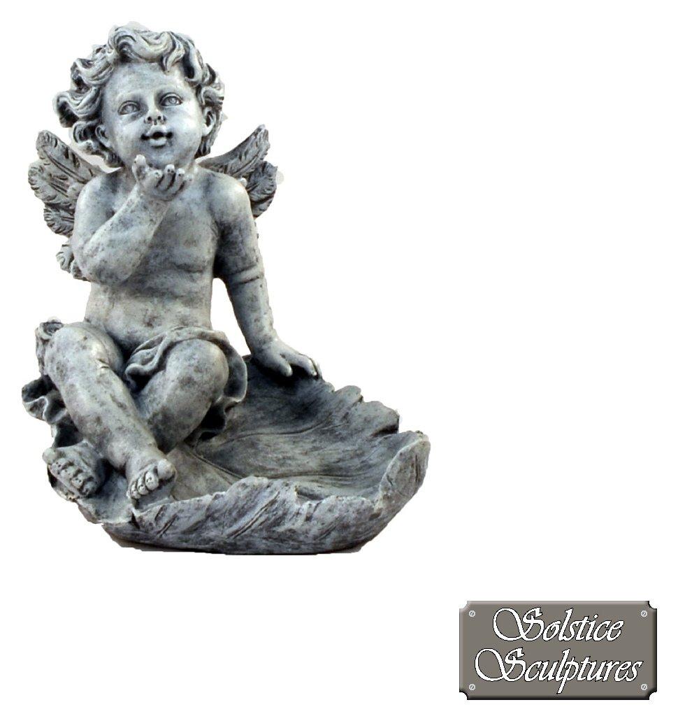 Solstice Sculptures Cherub on Leaf Garden Statue. lowest price