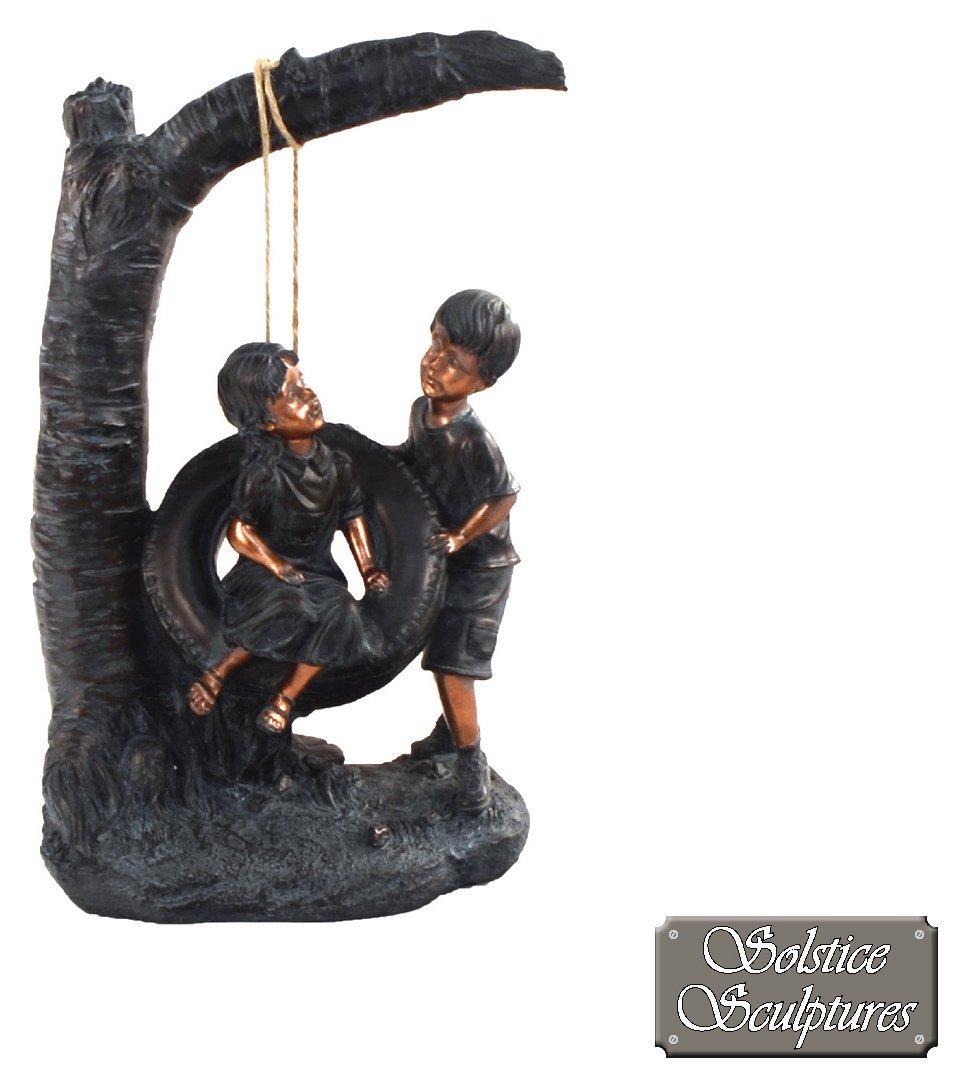 Solstice Scultptures Tyre Swing Statue - Bronze Effect. lowest price