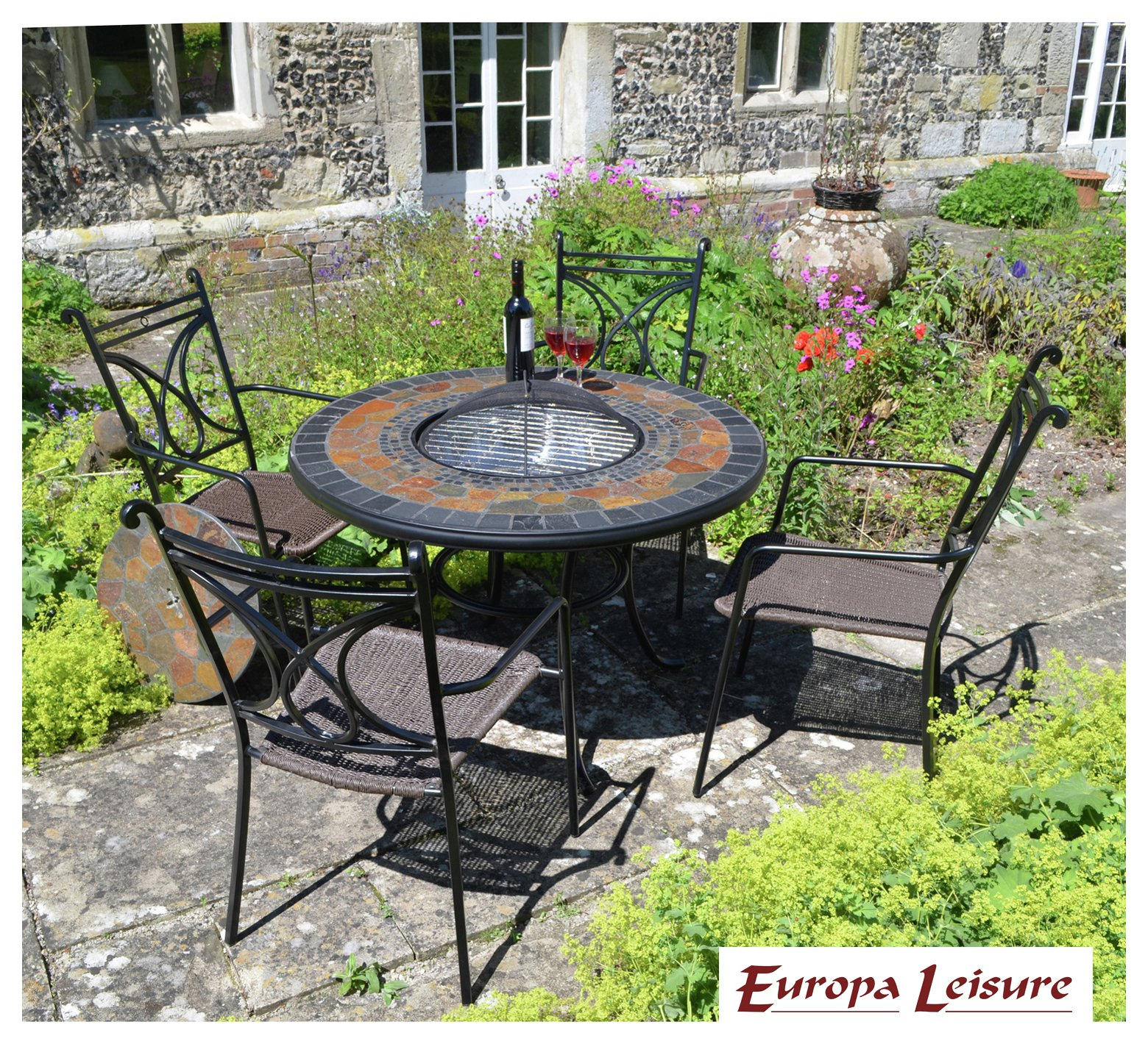Durango Patio Table with 4 Treviso Chairs. lowest price