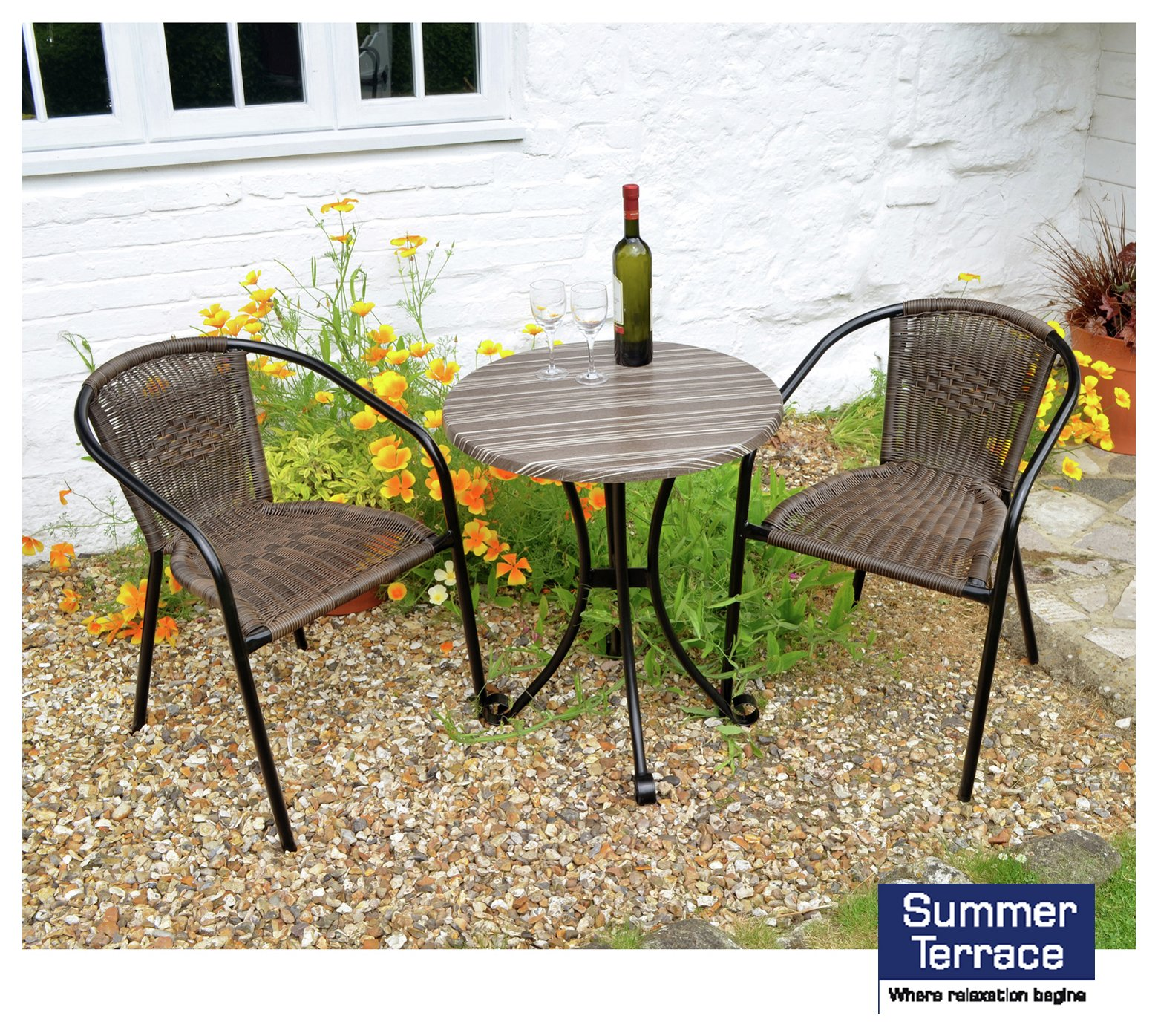 Summer Terrace Kalmar San Remo Bistro Set with 2 Chairs. lowest price