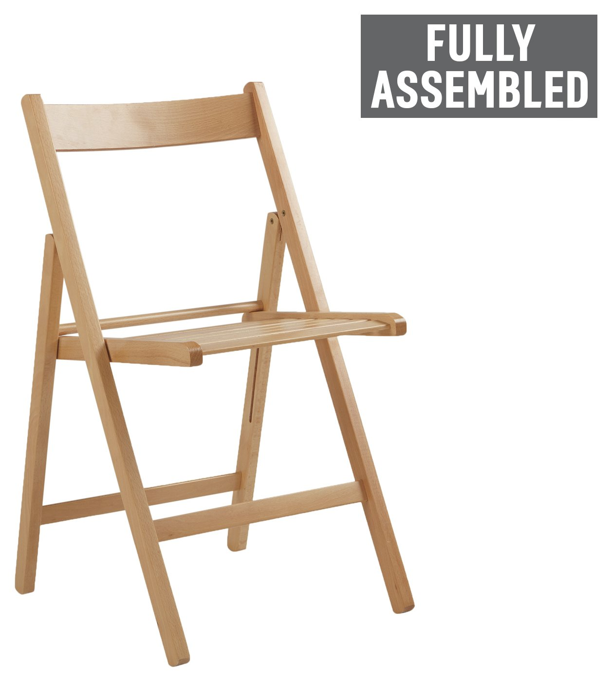 Buy Simple Value Wooden Folding Chair Natural at Argoscouk