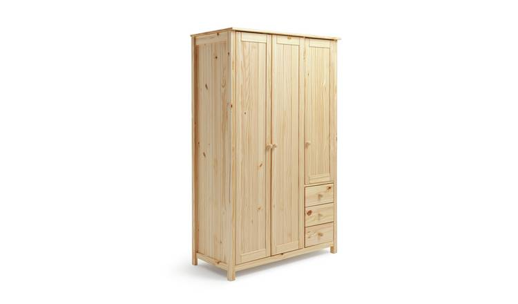 Habitat New Scandinavia 3 Door 3 Drawer Wardrobe - Pine