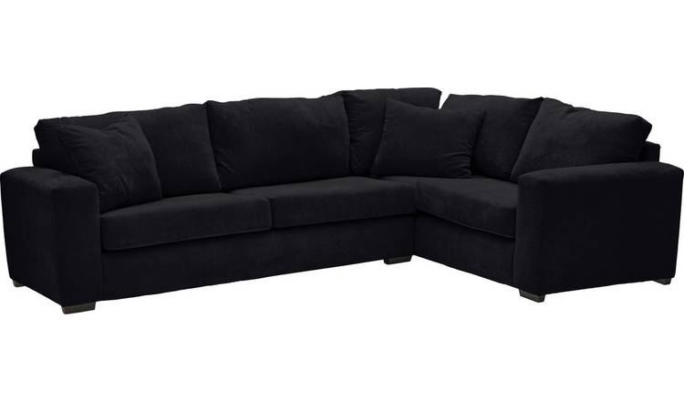 Habitat Eton Right Corner Fabric Sofa - Black
