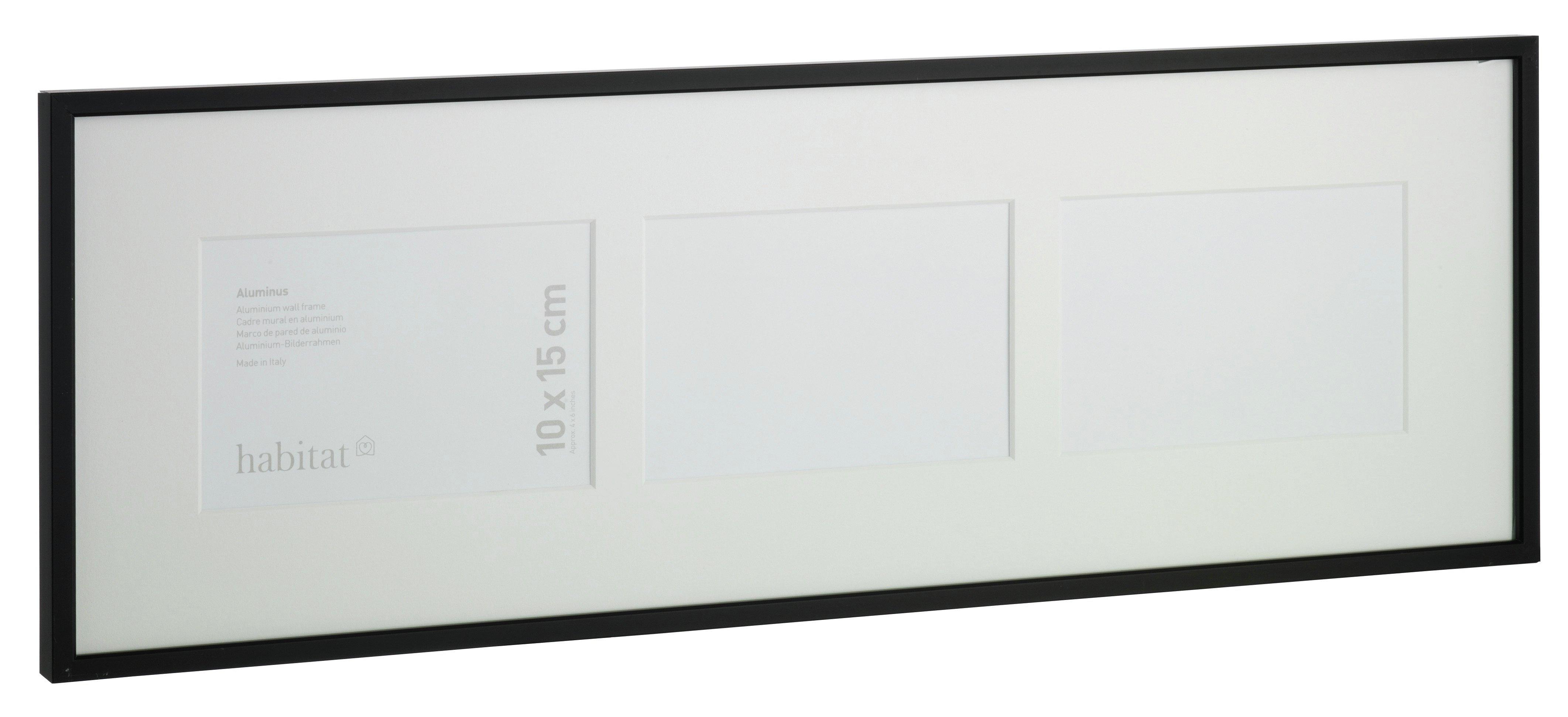 Image of Habitat Aluminus 19x57cm 3 Image Wall Frame - Black.