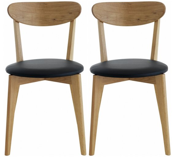 Buy Habitat Sophie Pair Of Oak And Leather Dining Chairs At Argos - Leather dining chairs uk
