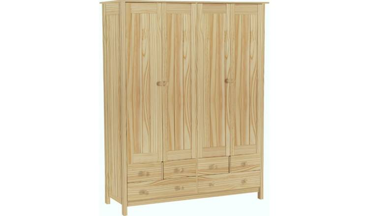 Habitat New Scandinavia 4 Door 6 Drawer Wardrobe - Pine