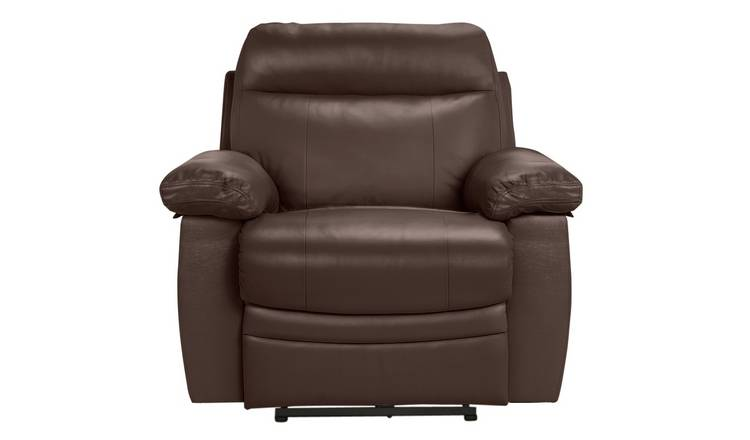 Buy Argos Home Paolo Leather Mix Power Recliner Chair Brown | Armchairs and chairs | Argos