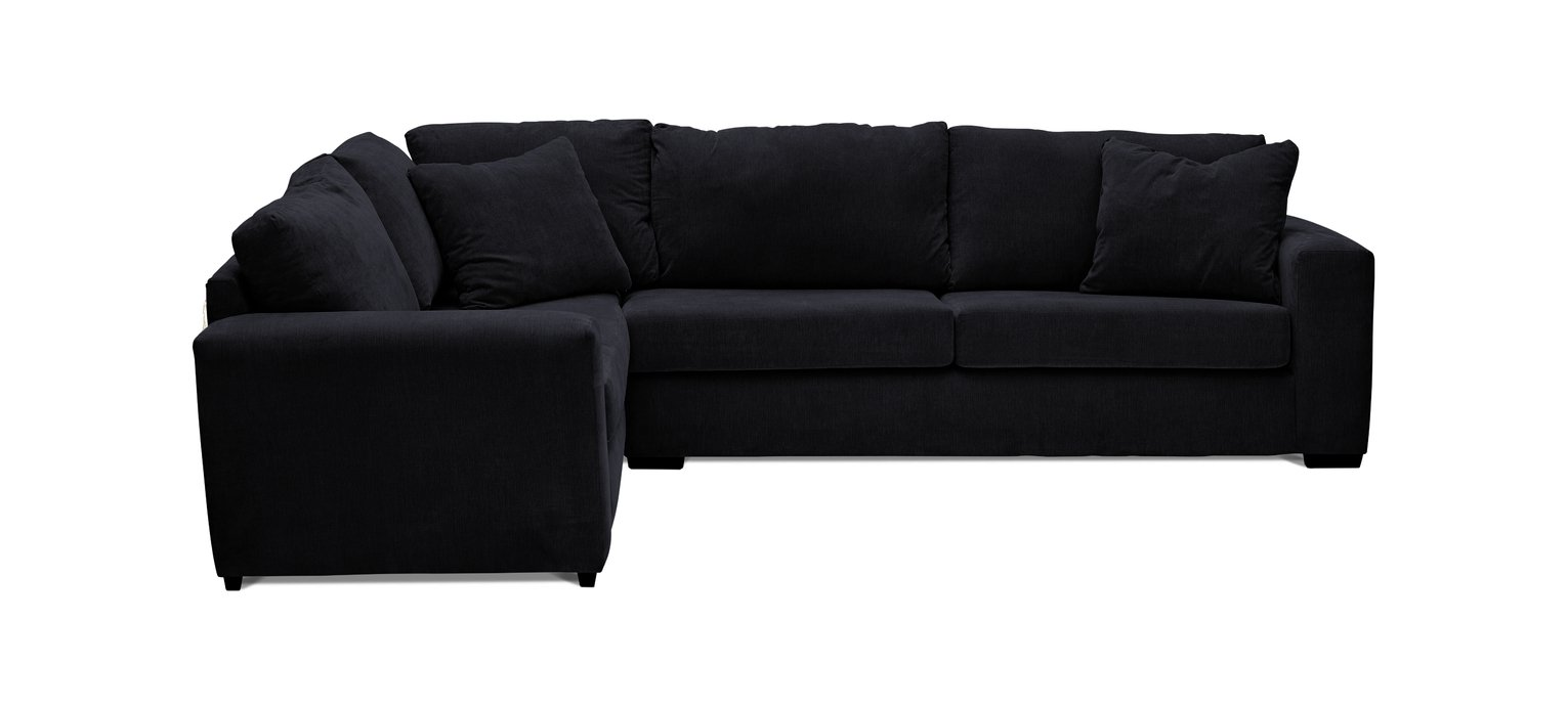 Argos Home Eton Left Corner Fabric Sofa - Black