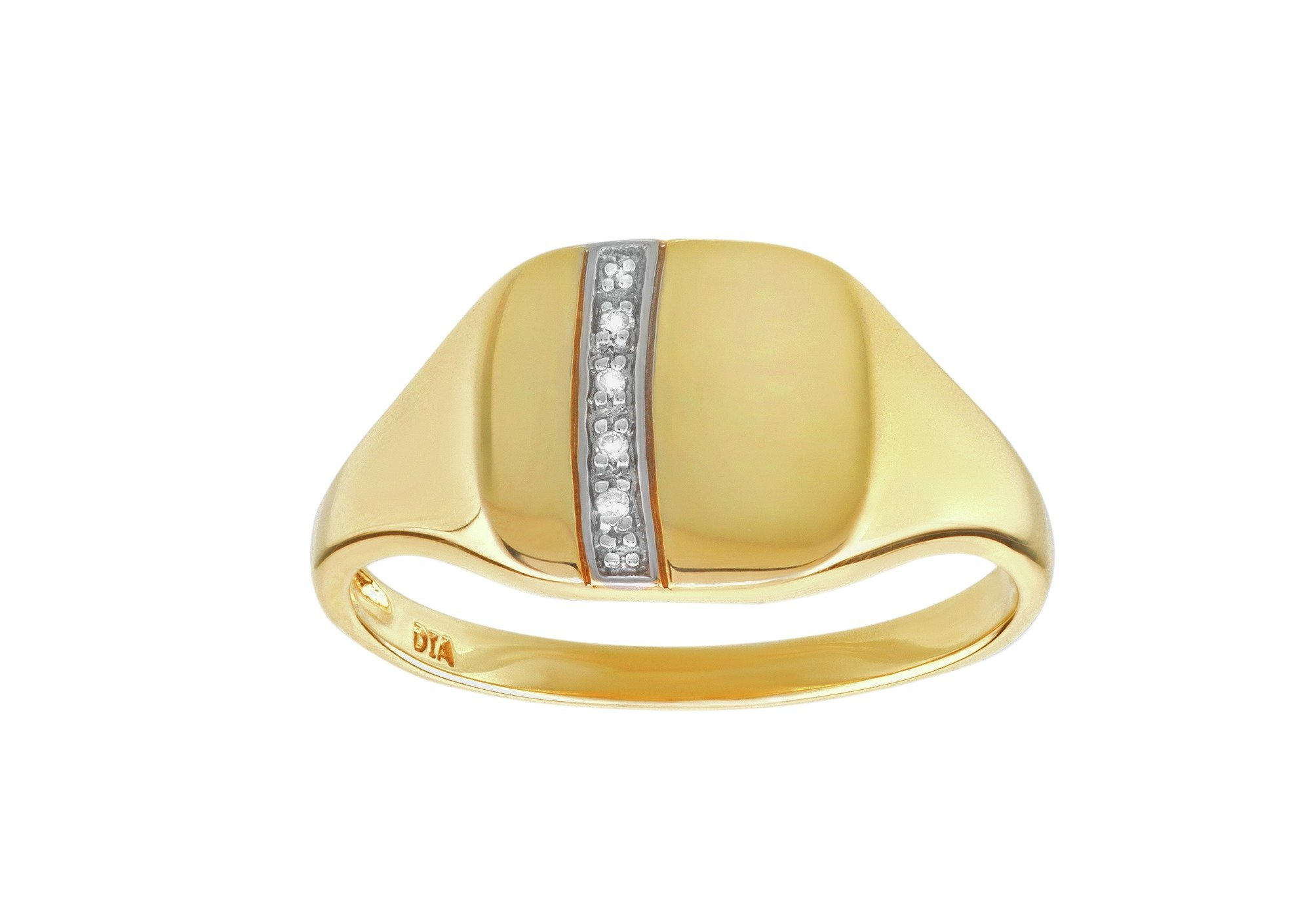9ct Gold Diamond Accent Square Ring