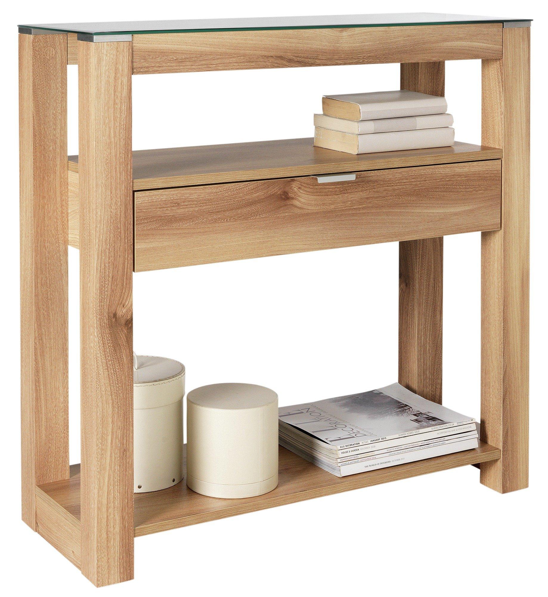 Argos Home Cubic Console Table - Oak Finish