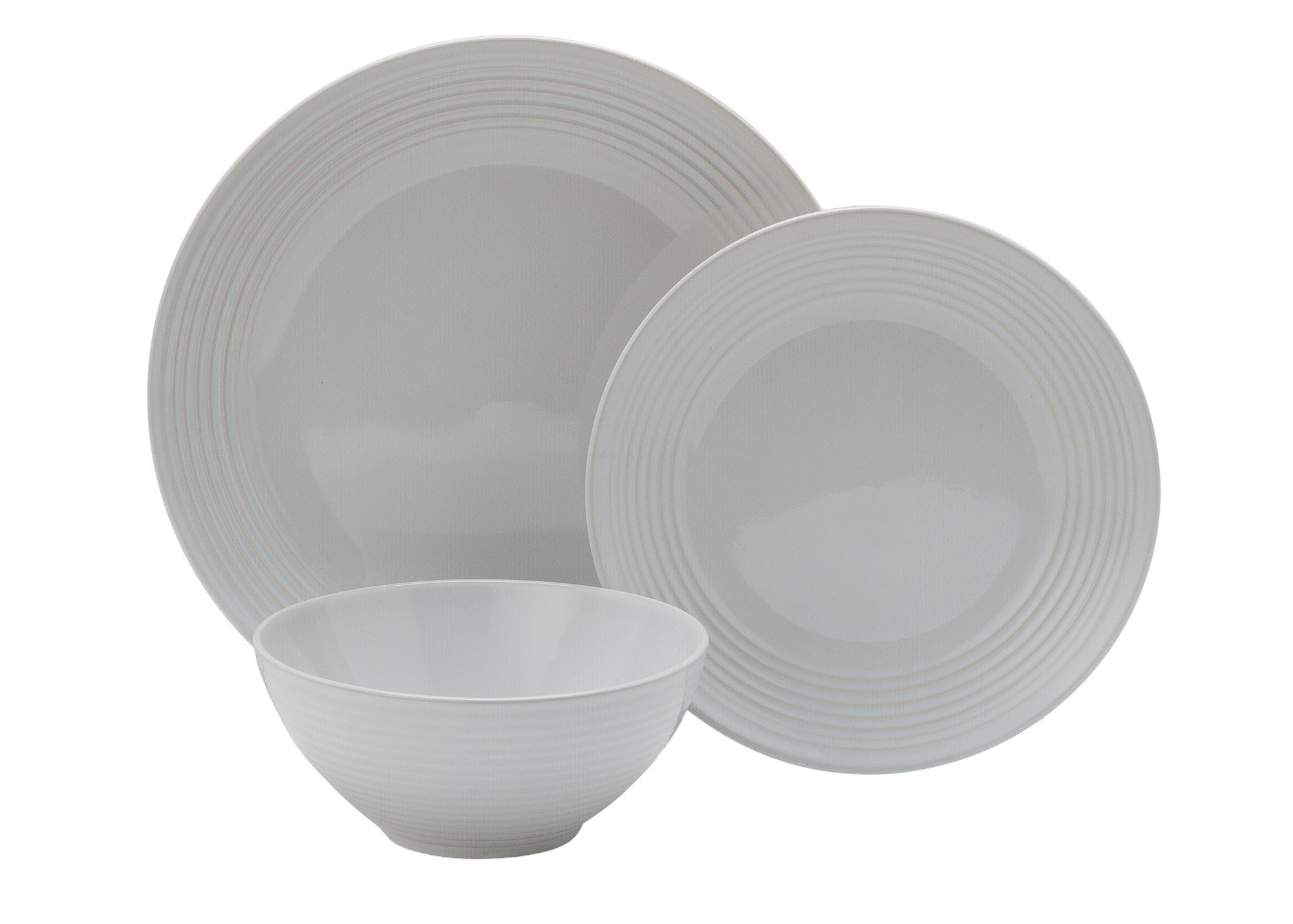 Heart of House - Chunky Ribbed 12 Piece Dinner Set - White
