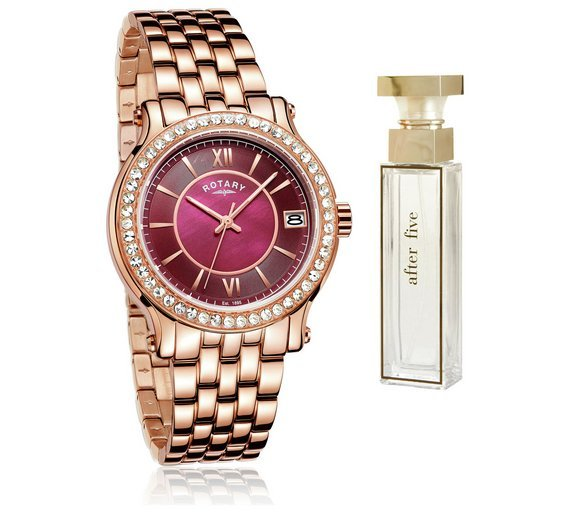 Image of Rotary - Ladies Rose Gold Bracelet - Watch and Perfume Set