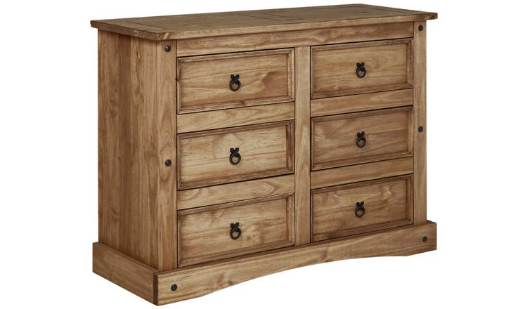 Argos Home Puerto Rico 3 + 3 Drawer Chest - Dark Pine