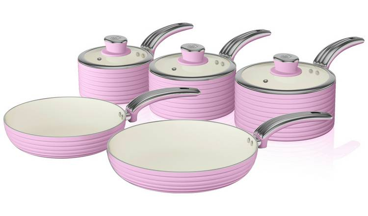 Swan 5 Piece Aluminium Pan Set - Pink