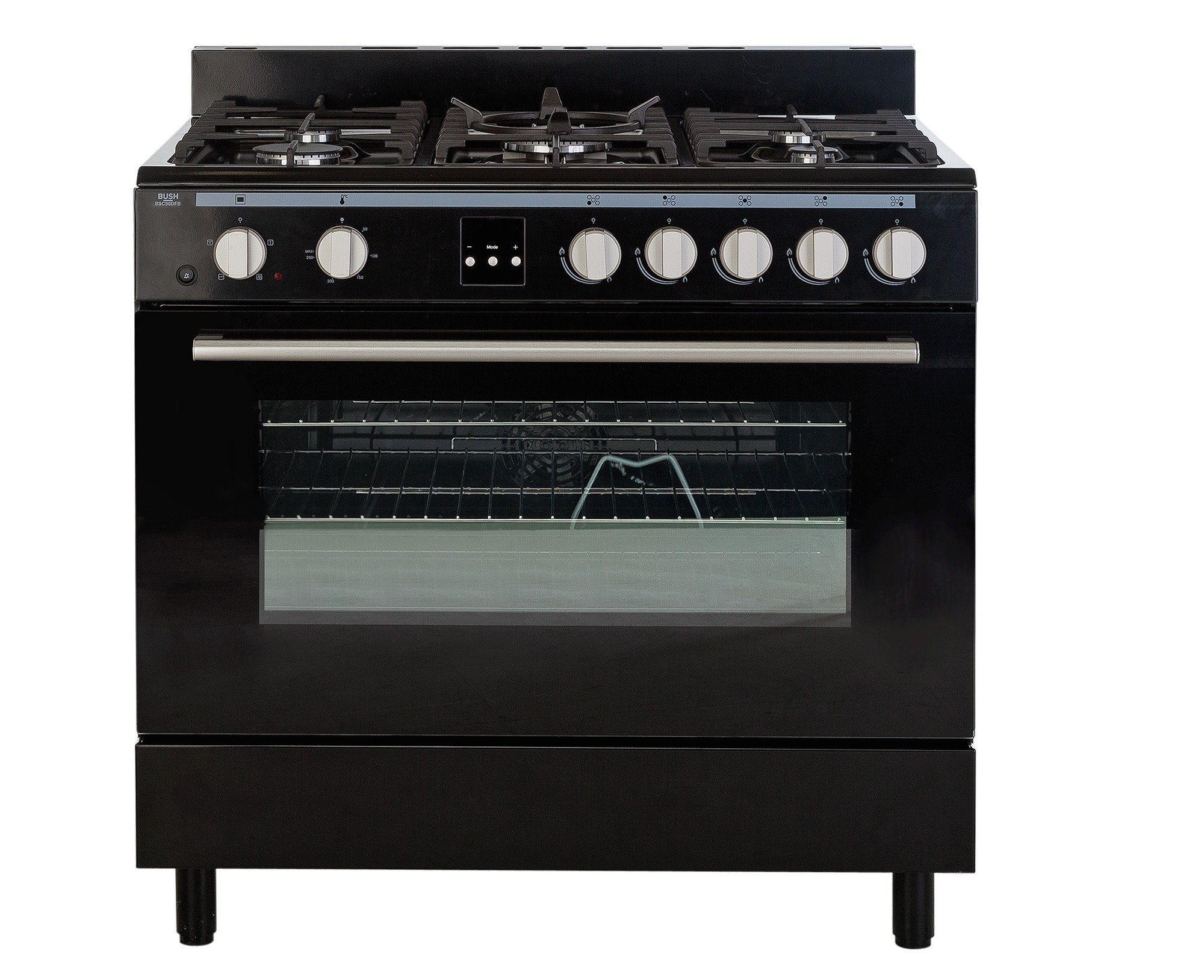 Image of Bush BSC90DFB Dual Fuel Range Cooker - Black + Installation