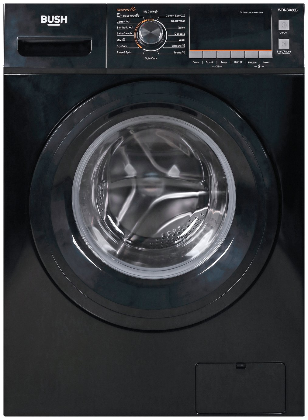 Bush WDNSX86B 8KG / 6KG 1400 Spin Washer Dryer - Black