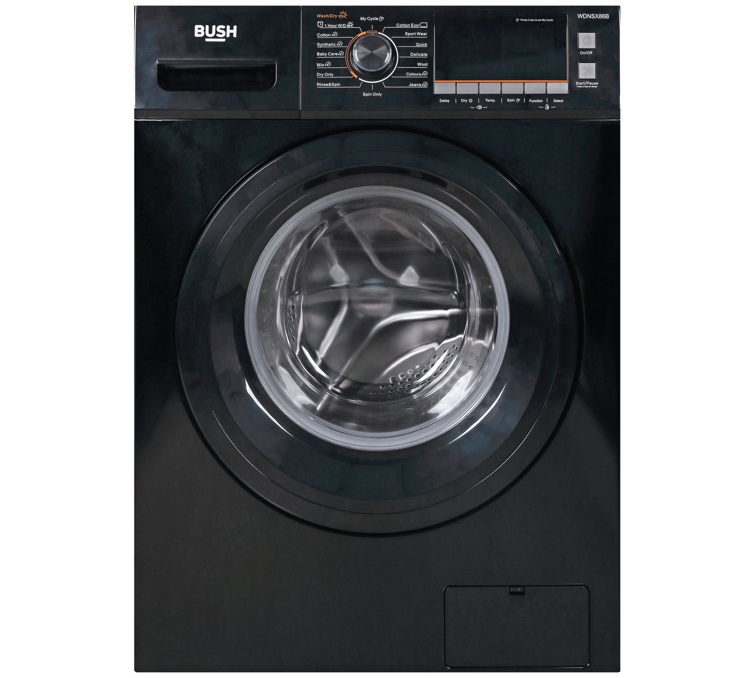 Bush WDNSX86B 8KG / 6KG 1400 Spin Washer Dryer - Black by Bush 557/2595
