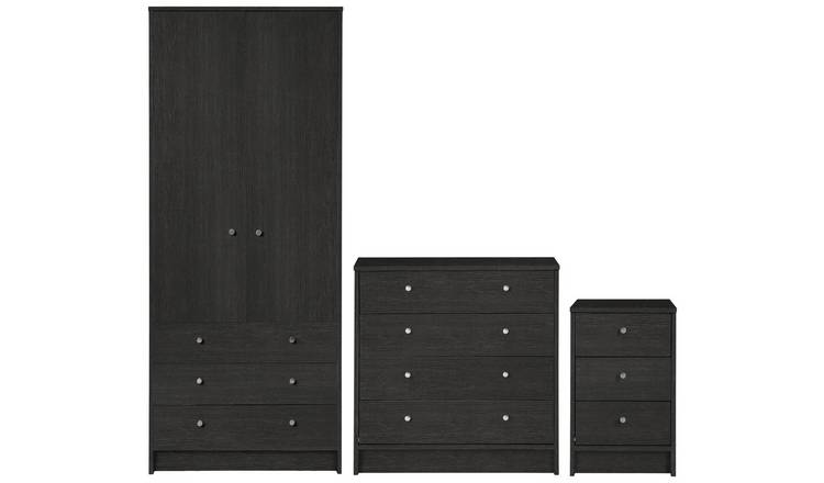 Buy Argos Home Malibu 3 Piece Wardrobe Set - Black Oak Effect | Bedroom  furniture sets | Argos