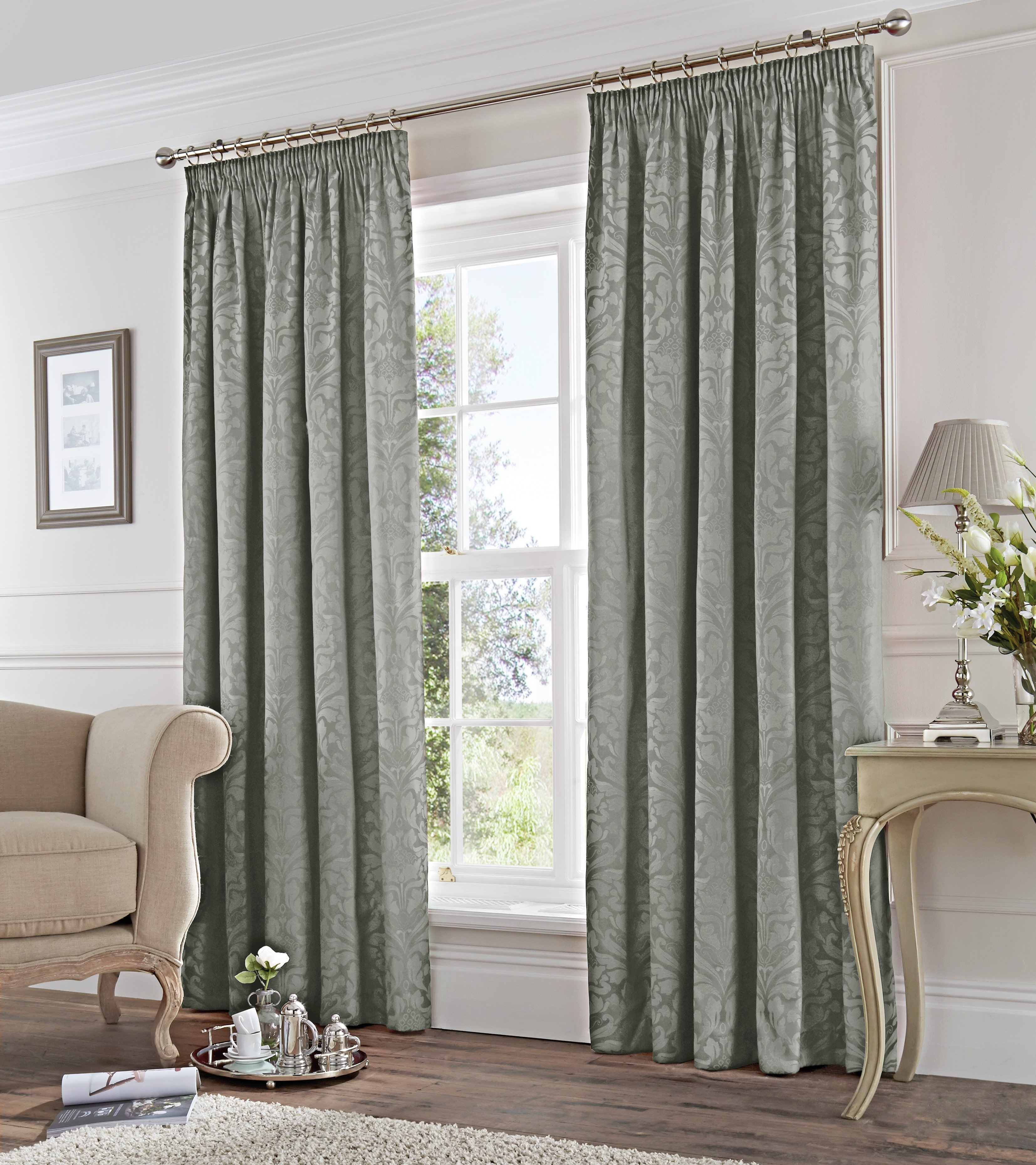 Fusion Eastbourne Lined Curtains - 168x183cm - Silver.