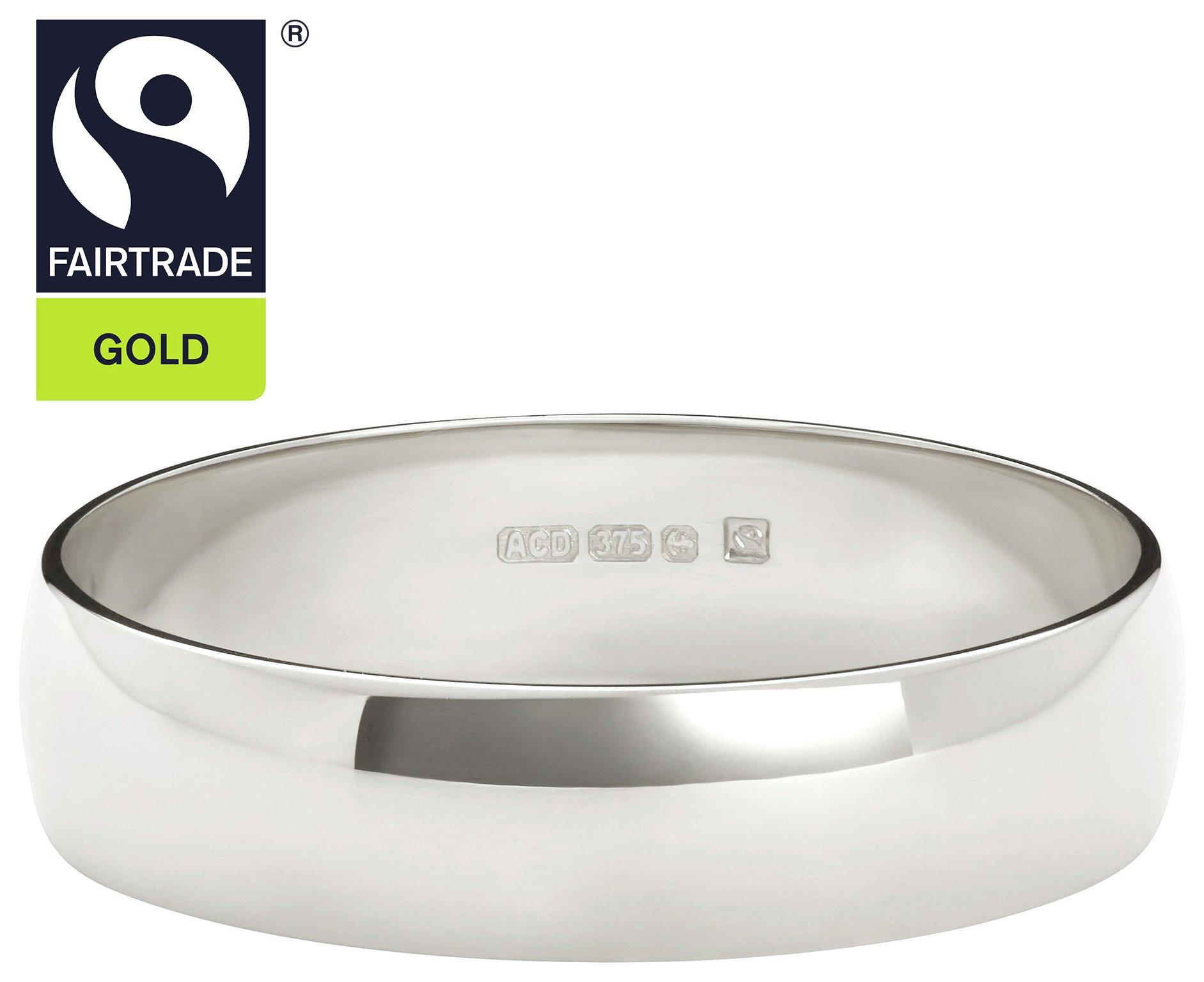 Fairtrade 9 Carat White Gold 4mm Court Shape Wedding Ring-P