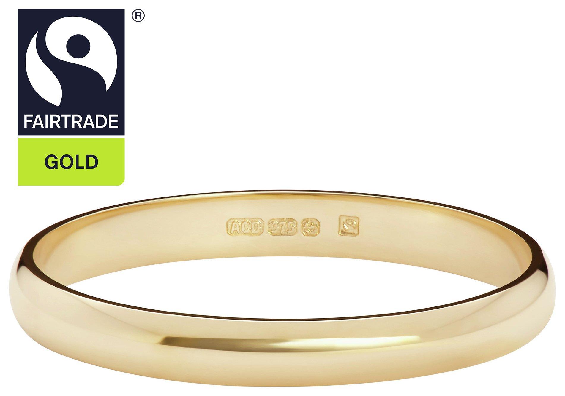 Fairtrade 9 Carat Gold - 2mm Court Shape Wedding Ring-O