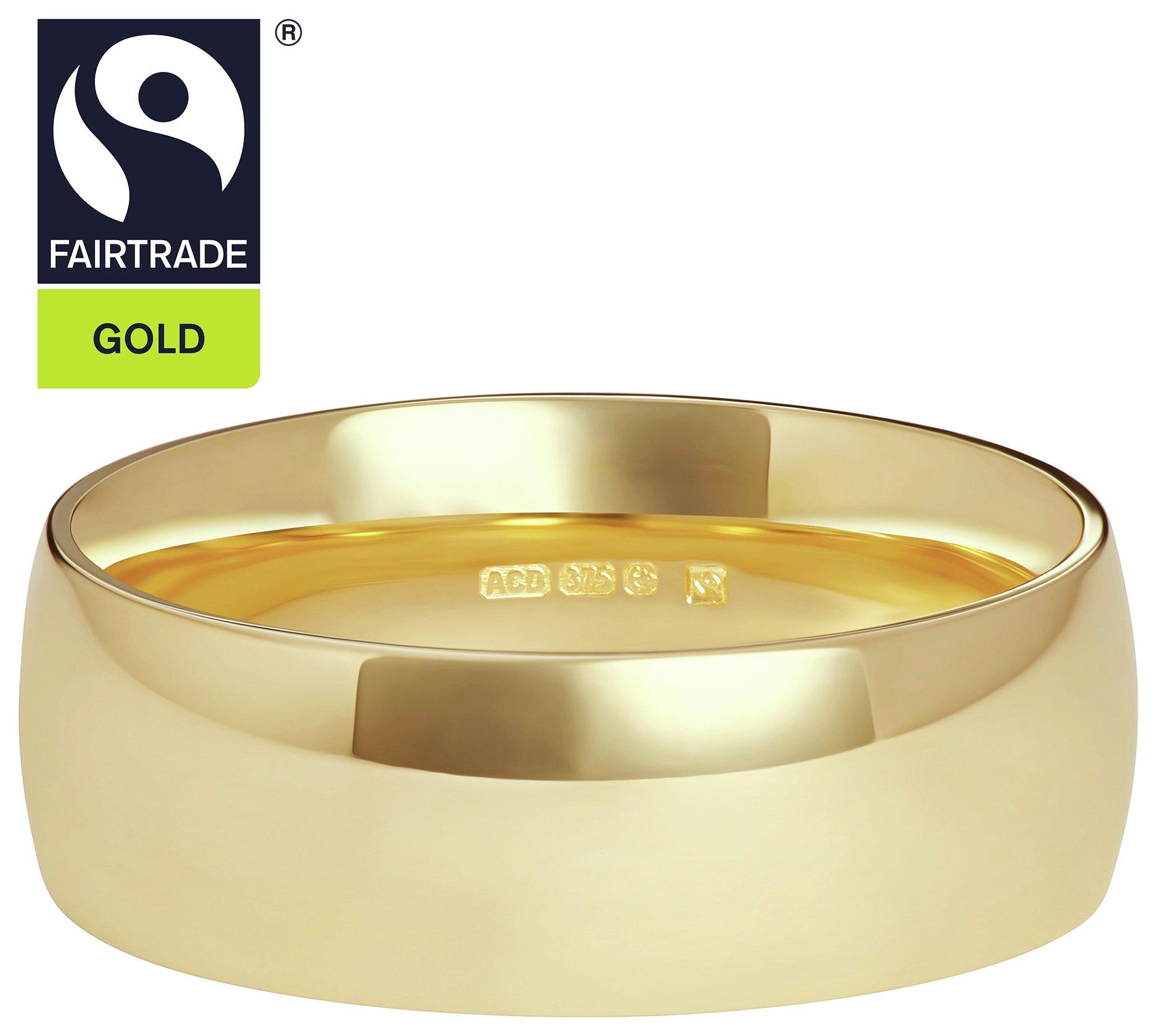 Fairtrade 9 Carat Gold - 6mm D-Shape Wedding Ring-T