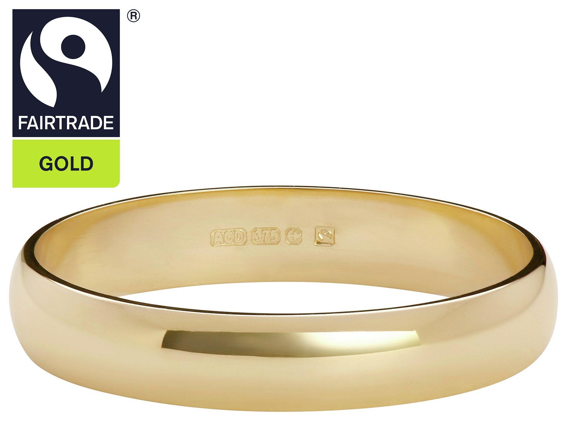 Fairtrade 9 Carat Gold - 3mm Court Shape Wedding Ring-L