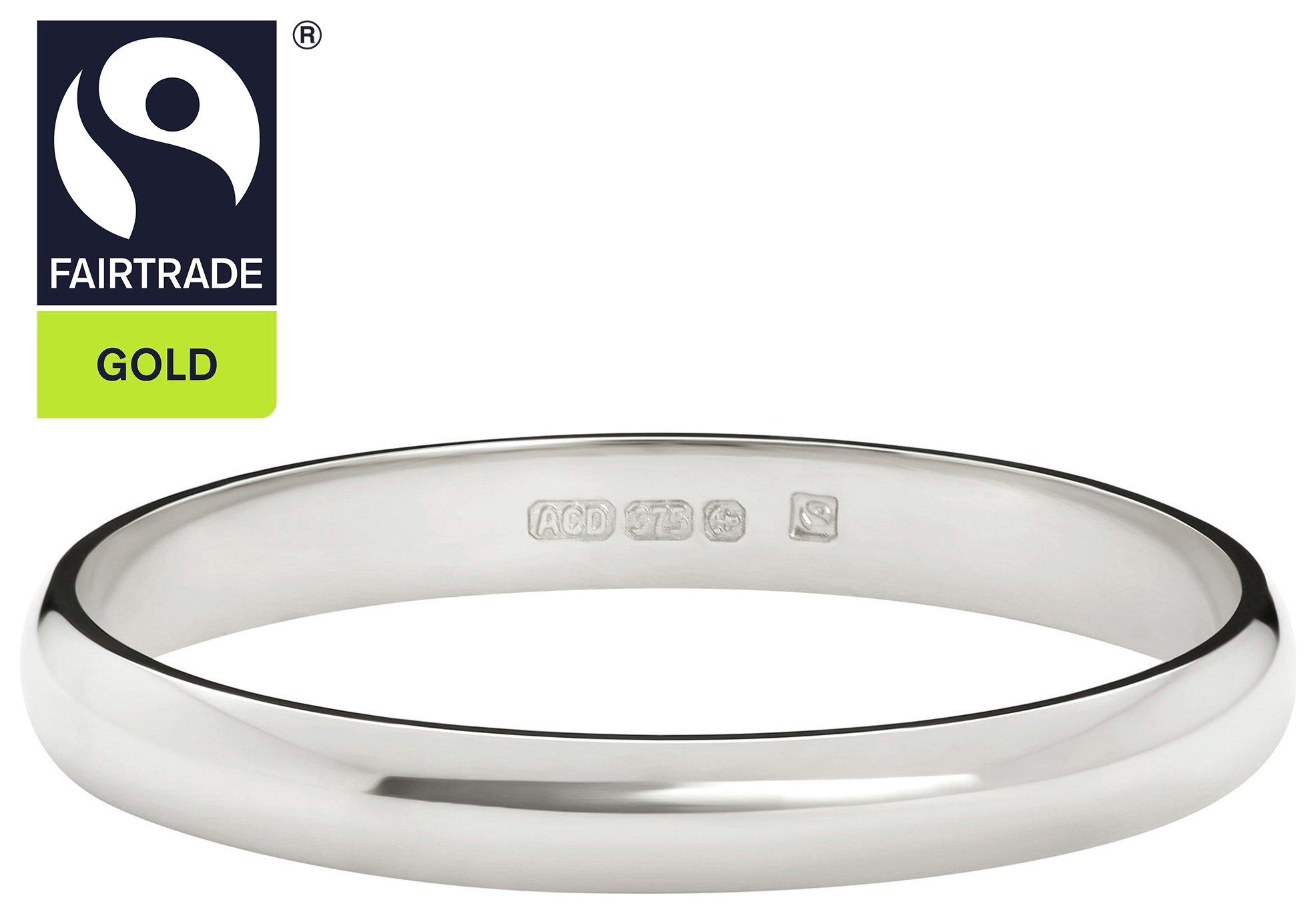 Fairtrade 9 Carat White Gold 2mm Court Shape Wedding Ring-N
