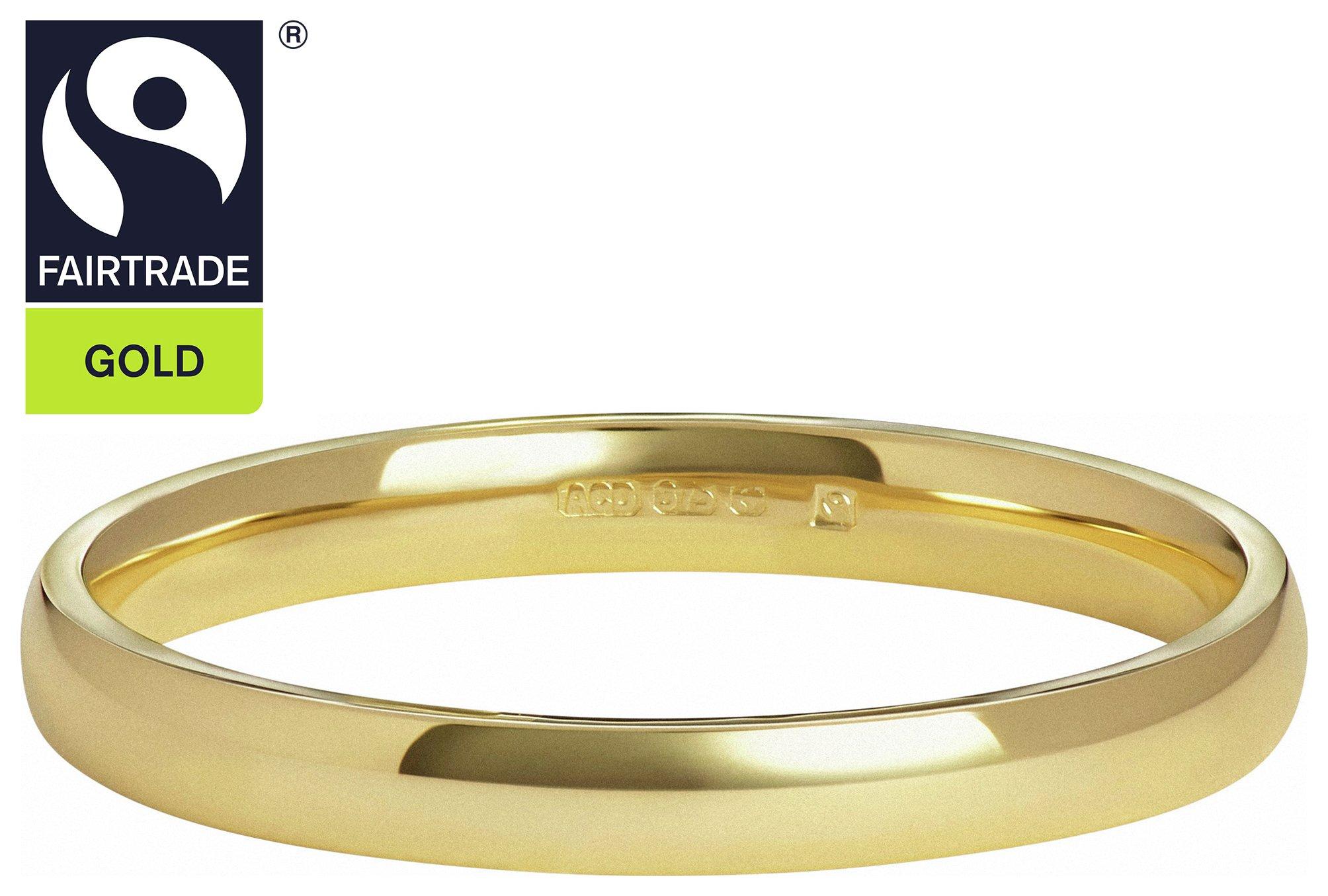 Fairtrade 9 Carat Gold - 2mm D-Shape Wedding Ring-P