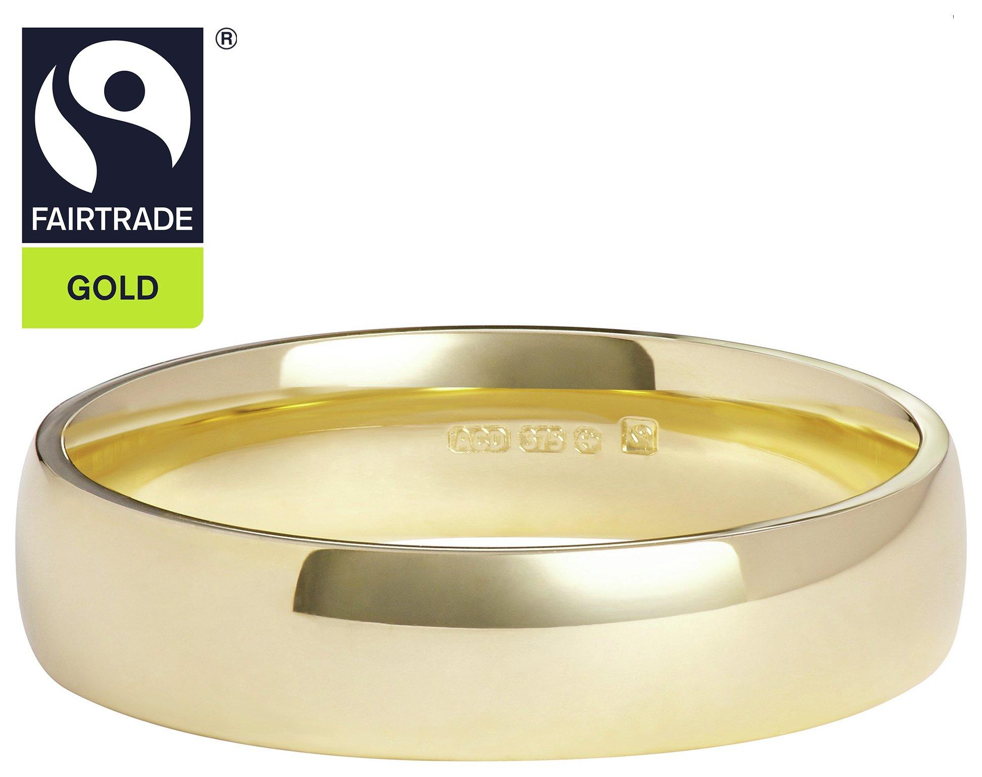 Fairtrade 9 Carat Gold - 4mm D-Shape Wedding Ring-Q