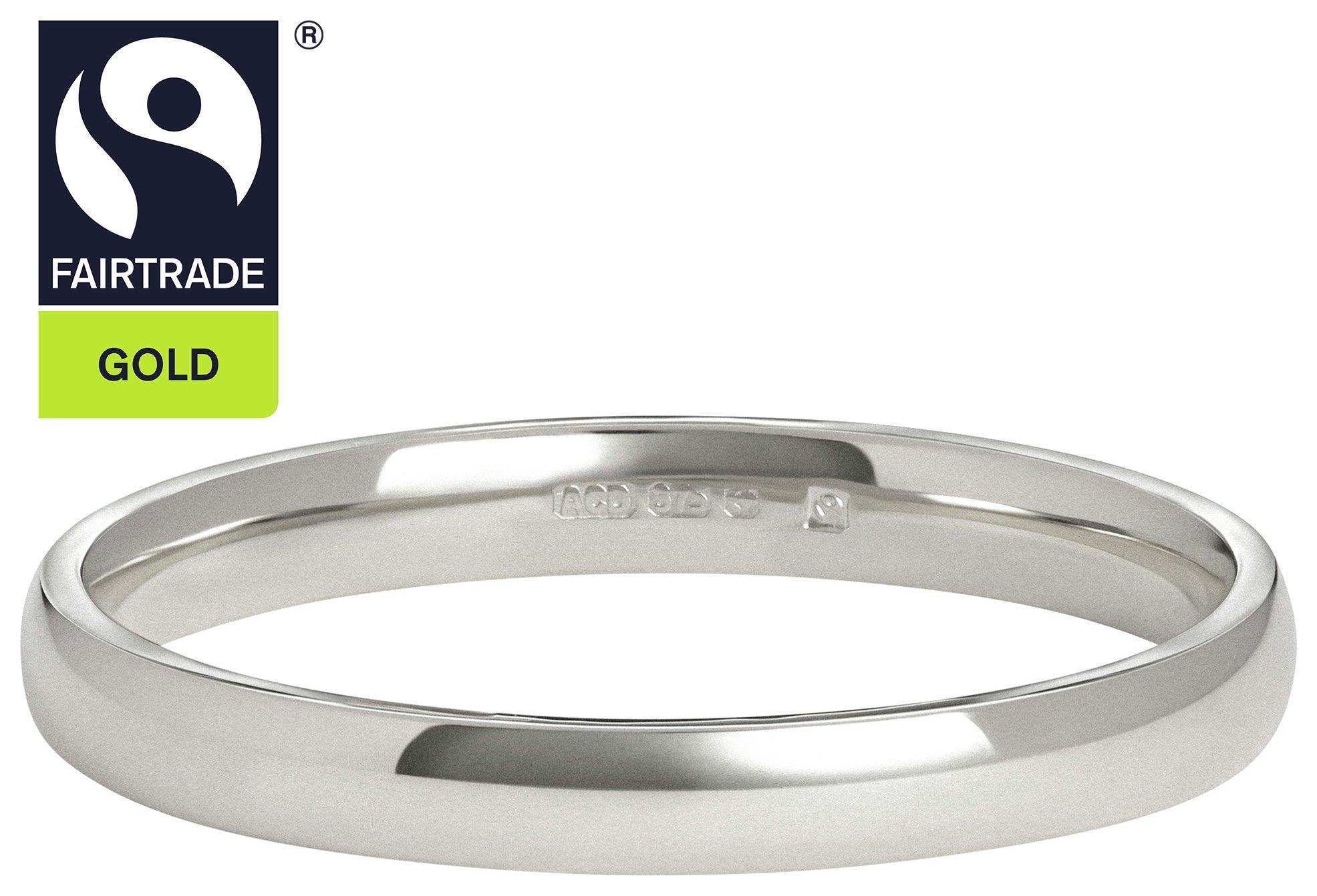 Fairtrade 9 Carat White Gold 2mm D-Shape Wedding Ring-O