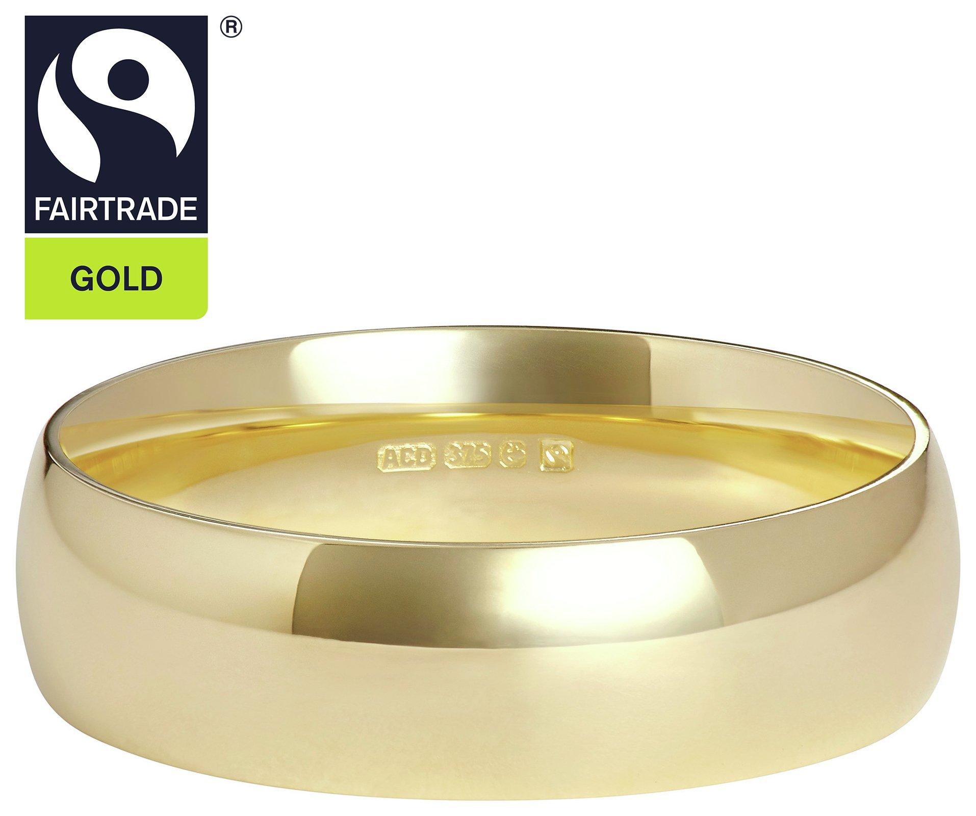 Fairtrade 9 Carat Yellow Gold 5mm D-Shape Wedding Ring-T