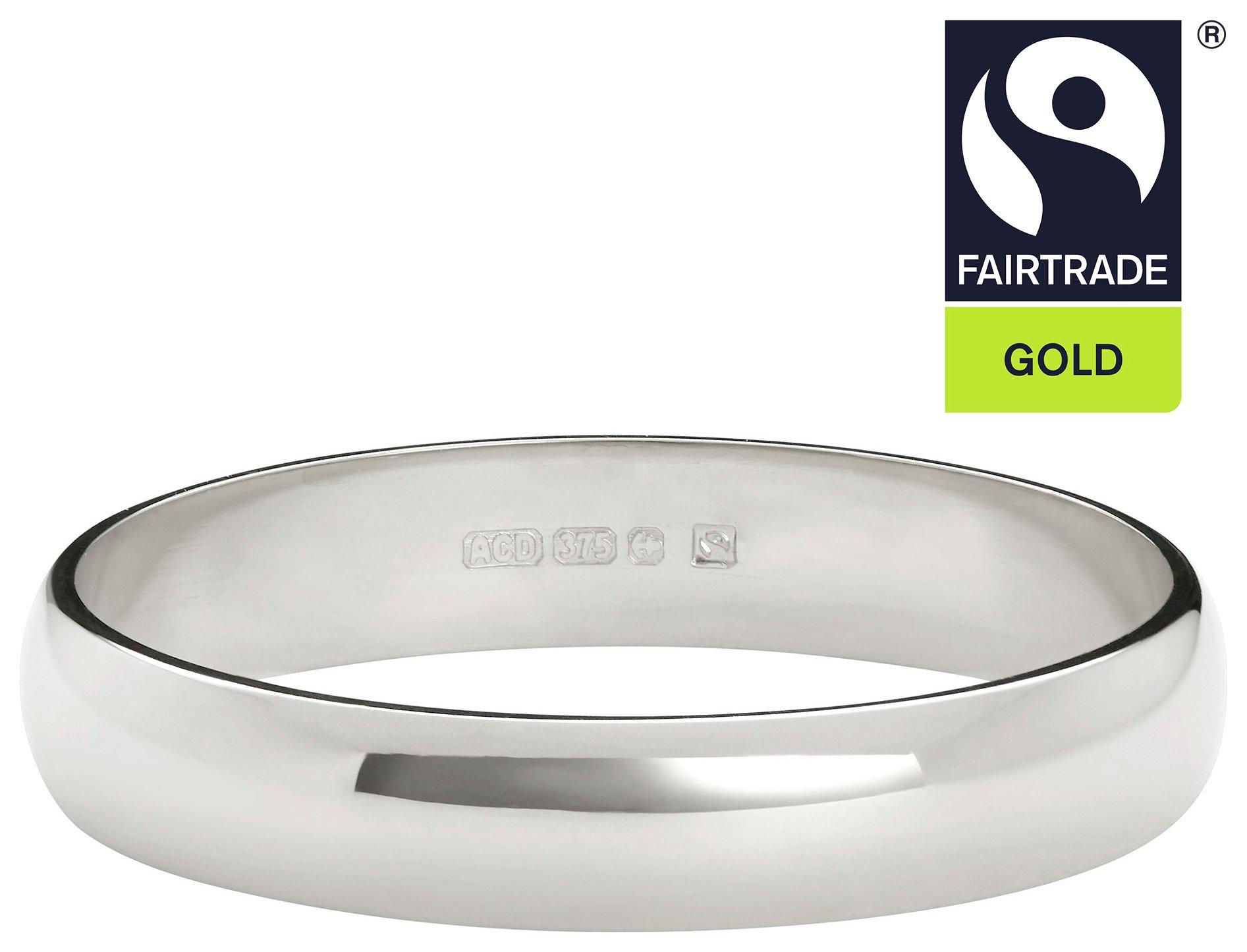 Fairtrade 9 Carat White Gold 3mm Court Shape Wedding Ring-O