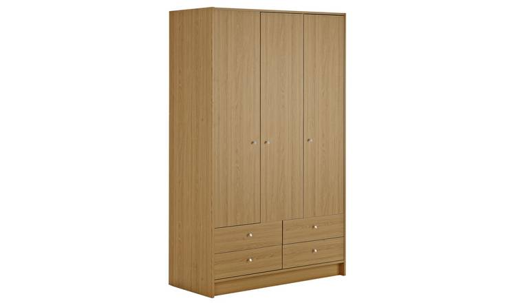 Habitat Malibu 3 Door 4 Drawer Wardrobe - Oak Effect