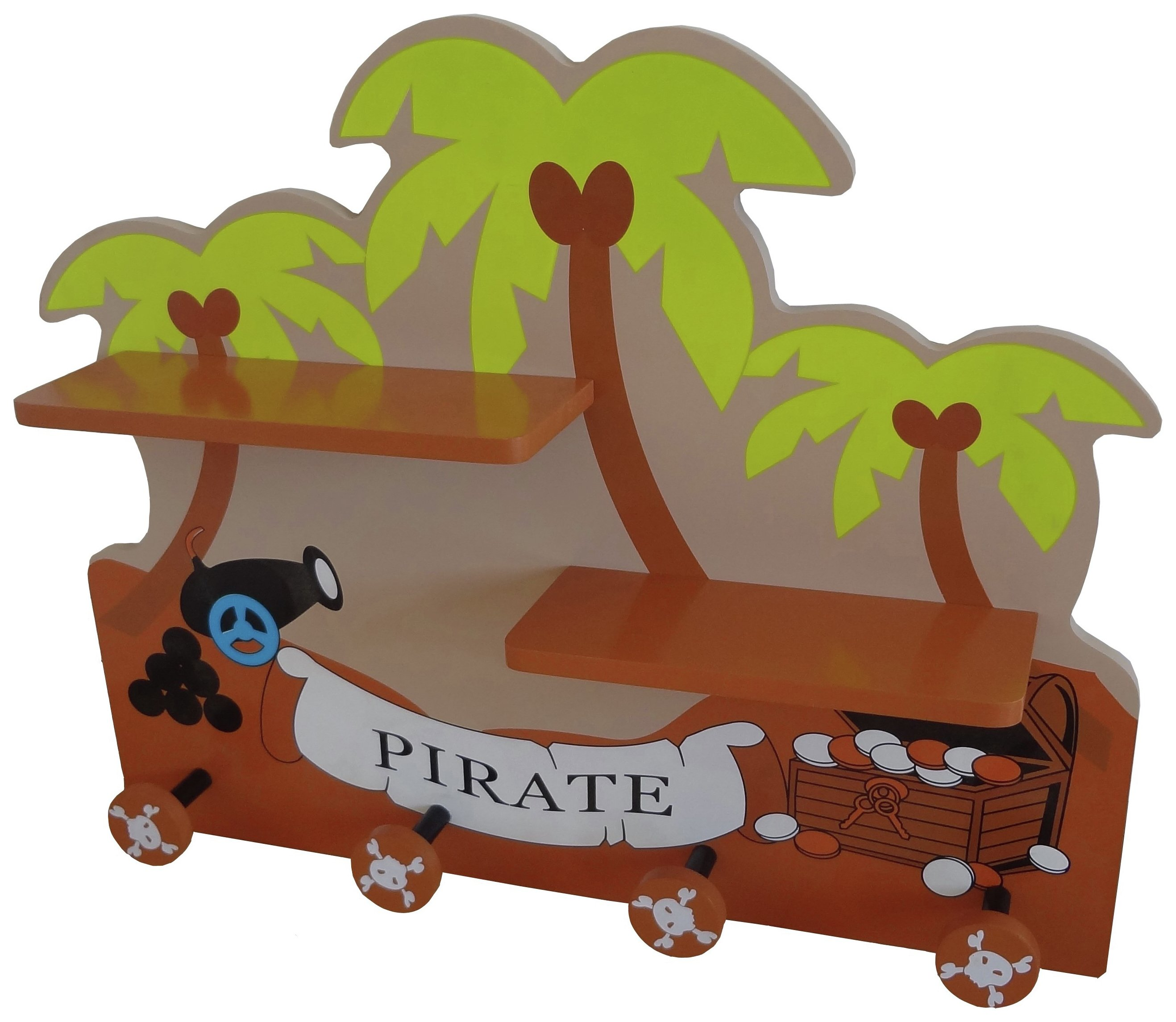 bebe style pirate themed hanger and shelf.