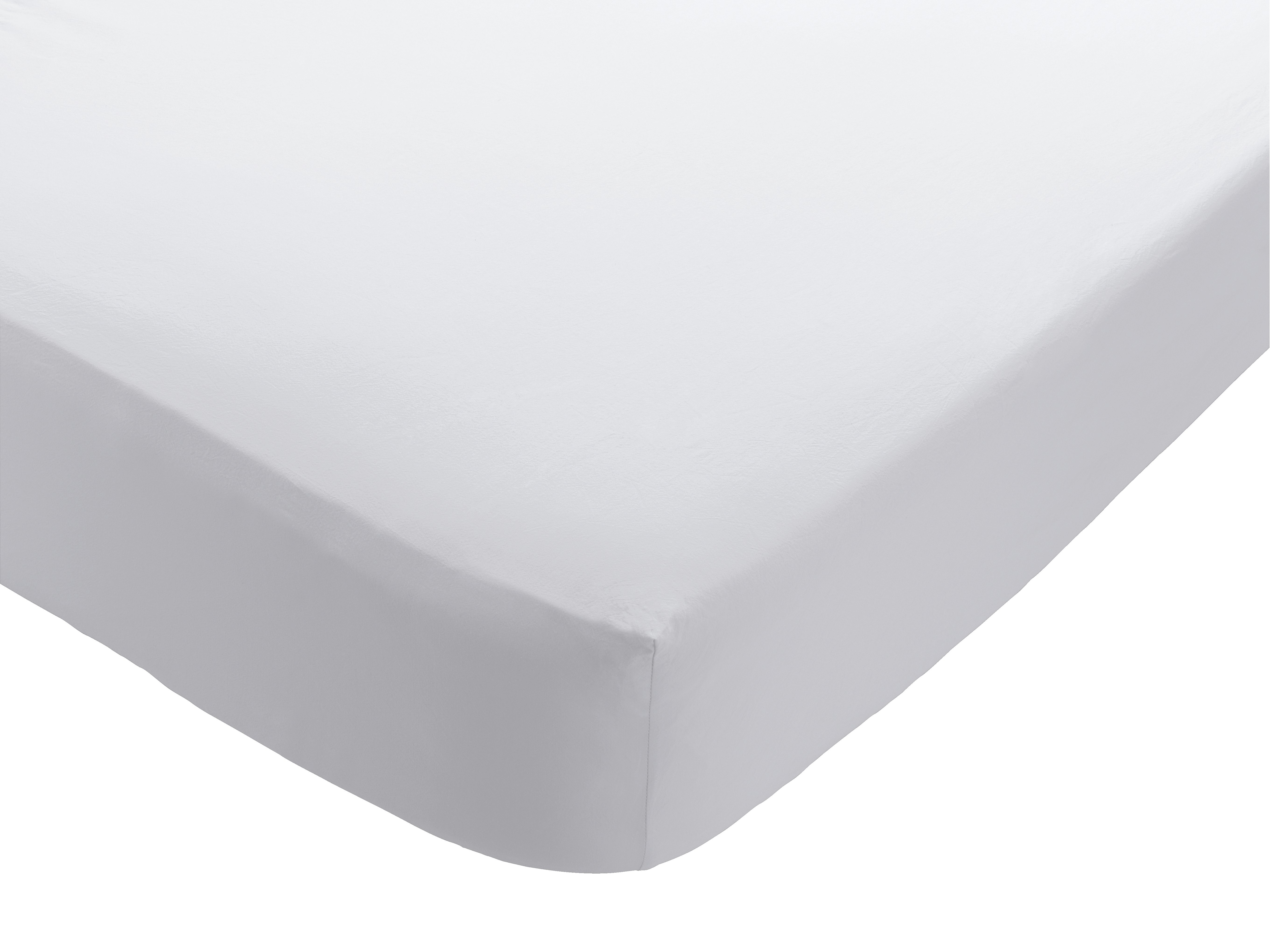 Habitat - Washed Double Fitted - Sheet - White