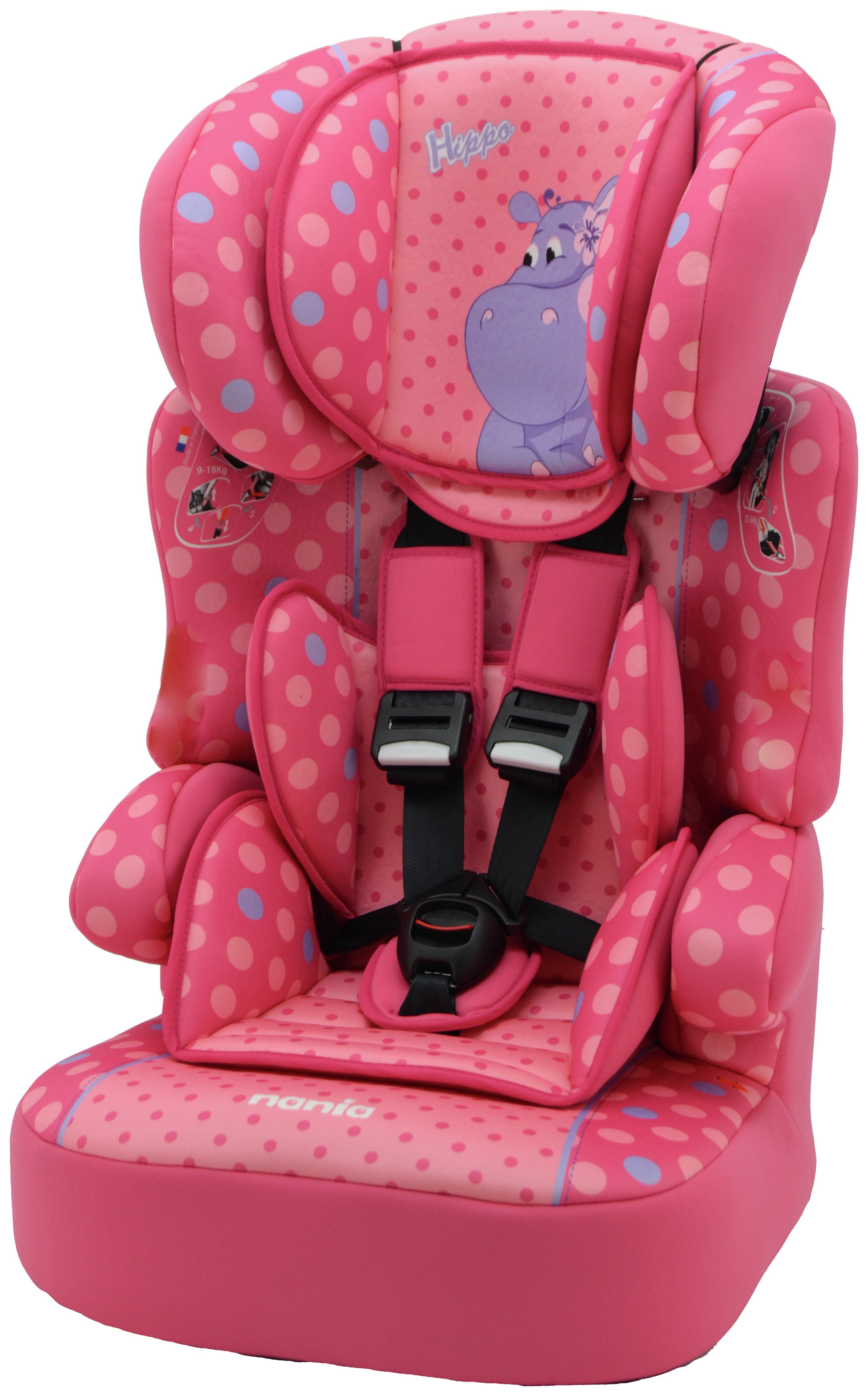 Beline Plus Hippo Group 1/2/3 Highback Booster Seat - Pink