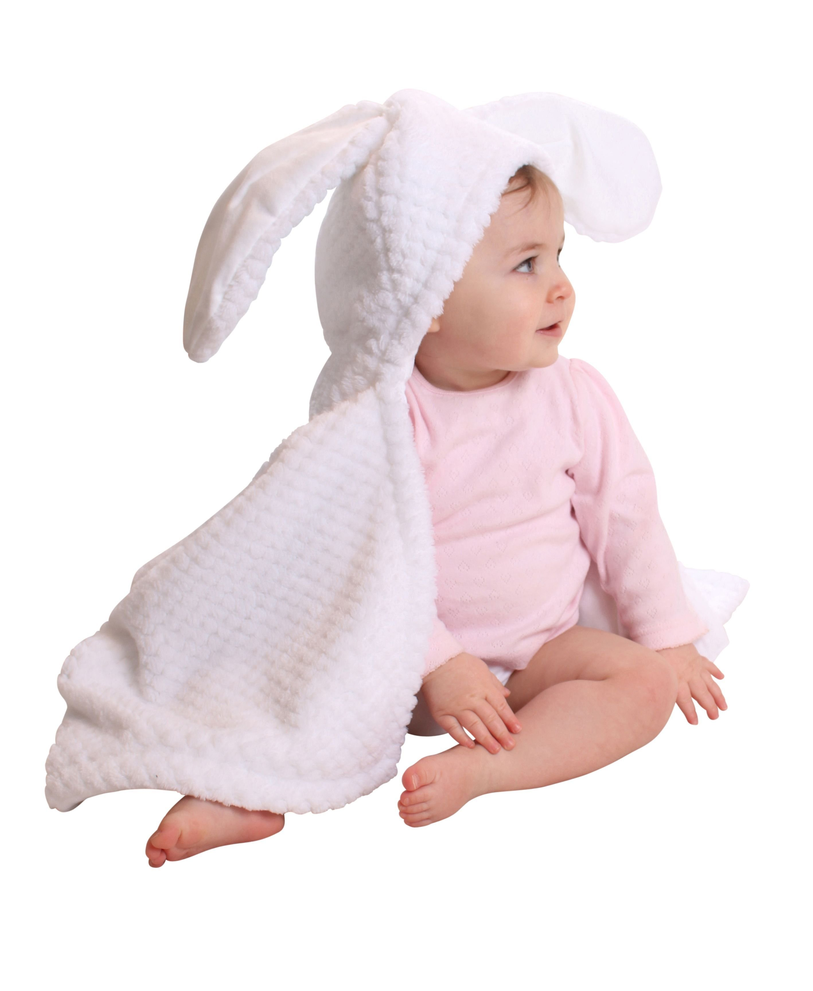 Image of Clair de Lune Honeycomb Hooded Ear Blanket - White.