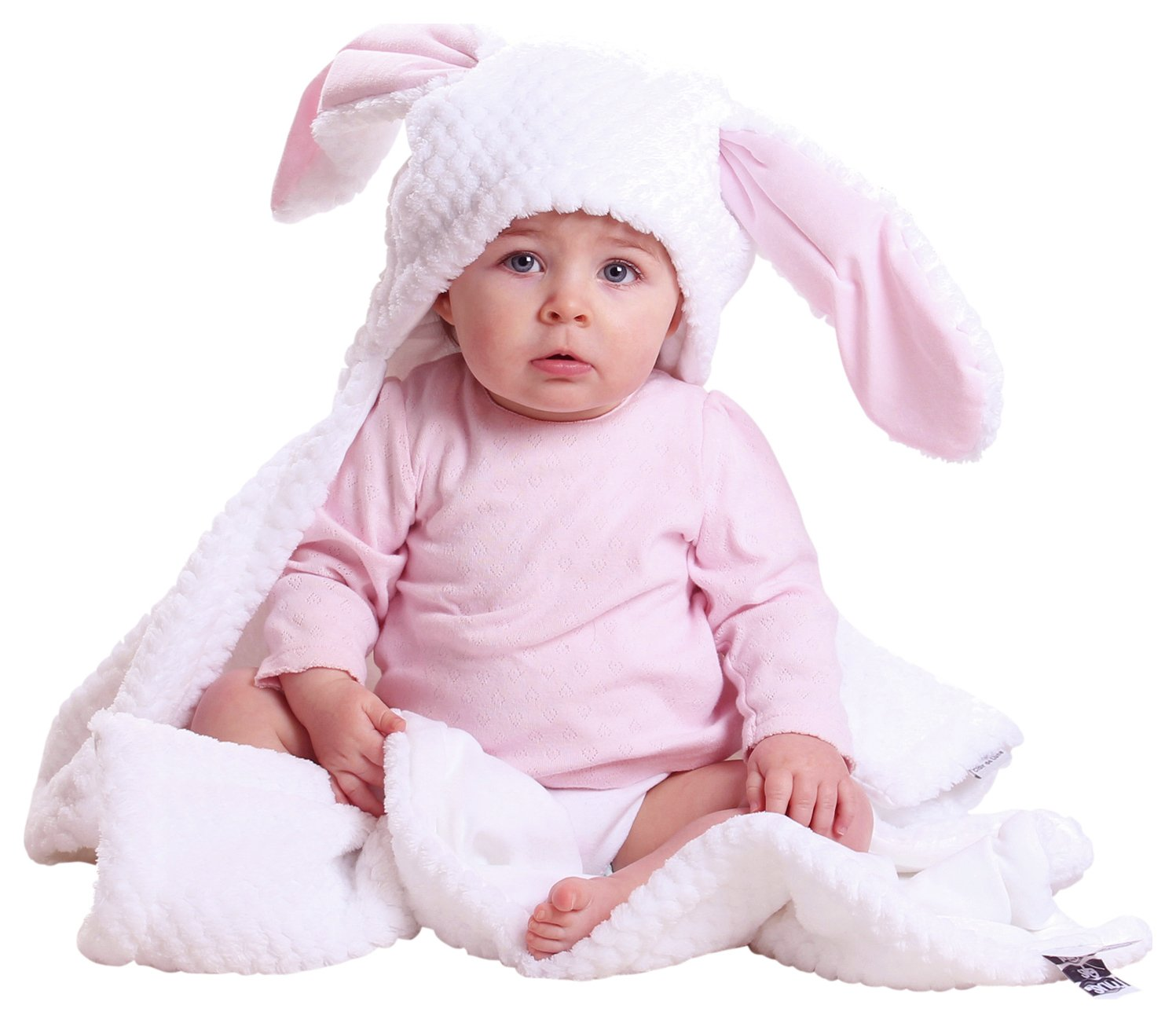 Image of Clair de Lune Honeycomb Hooded Ear Blanket - White/Pink.