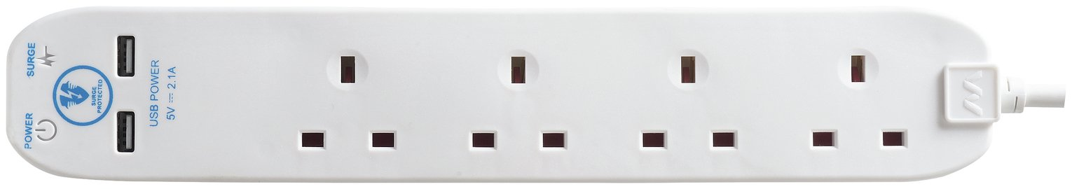 Masterplug 4 Socket 2 USB Outlet 2 Metre Surge Lead
