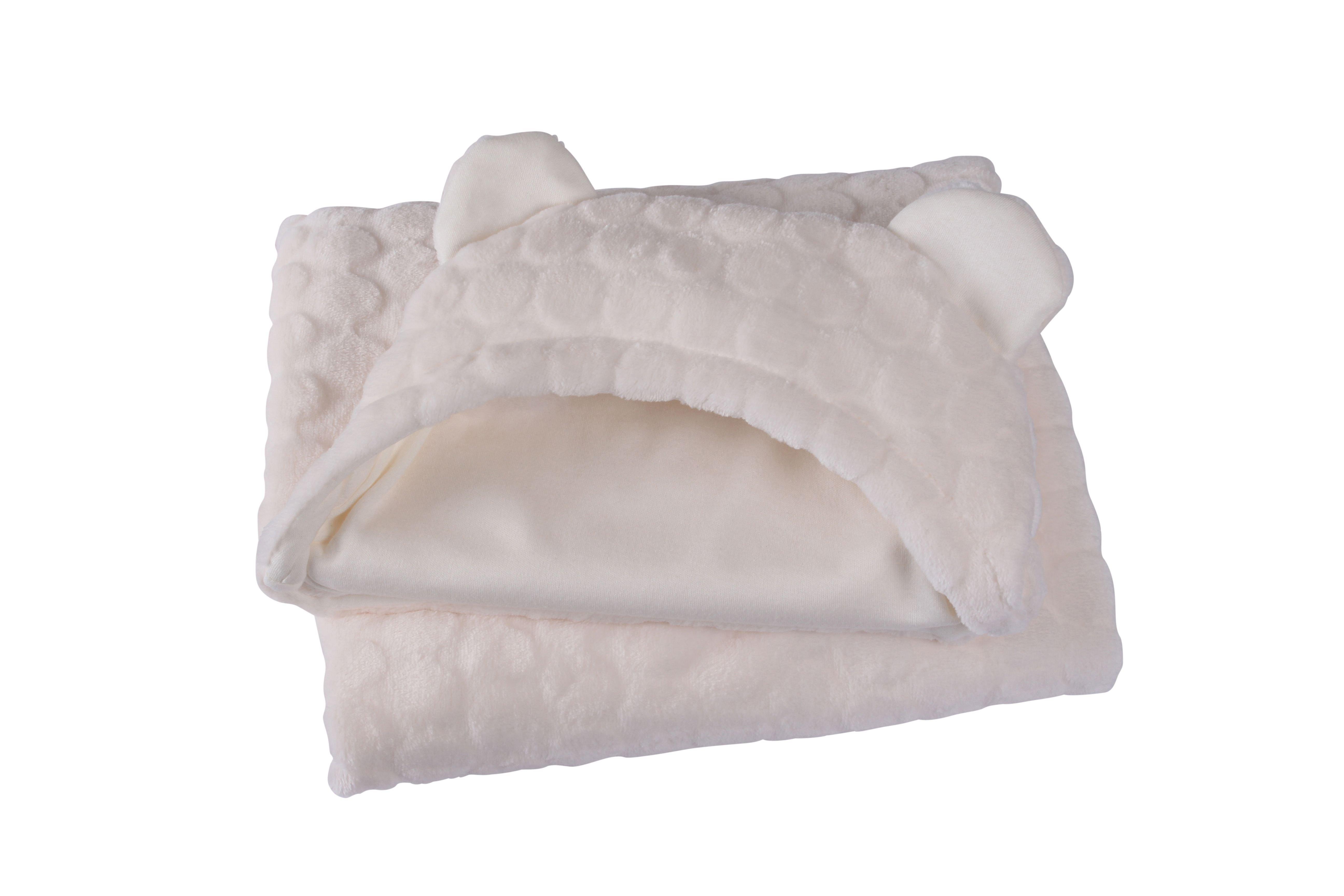 Image of Clair de Lune Marshmallow Teddybear Ear Blanket - Cream.