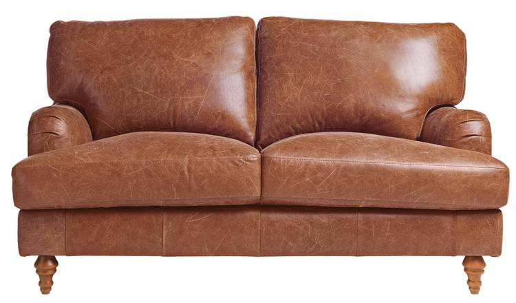 Habitat Livingston 2 Seater Leather Sofa - Tan